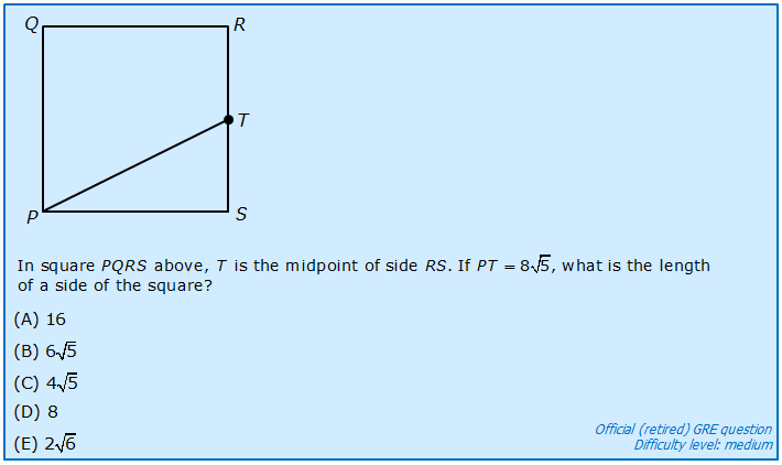 Medium GRE question on right triangles